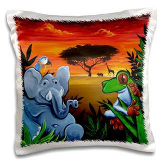 3dRose Jungle scene with an elephant, parot, and tree frog - Pillow Case, 16 by 16-inch