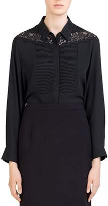 Gerard Darel Lucile Pleated Lace-Inset Blouse