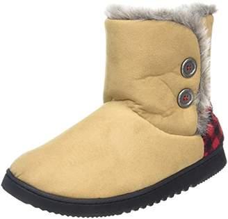 Dearfoams Women's Two-Button Boot with Memory Foam Hi-Top Slippers, Beige (Desert 00288), 7-8 UK (40-41 EU)