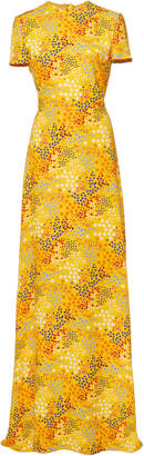 Carolina Herrera Open-Back Printed Crepe De Chine Gown