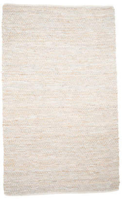 Made In India Jute & Leather Area Rug