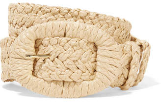Altuzarra Sabrina Leather-trimmed Faux Raffia Belt - Beige