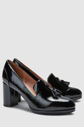 Next Womens Black Patent Tassel Platform Loafers