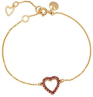 Lola Rose Women Ruby Heart Chain Bracelet of Length 19cm 0000000664691