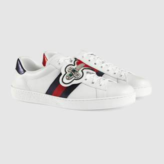 Gucci Ace pierced heart patch