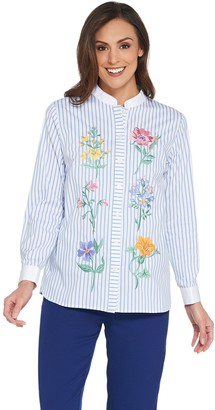 Bob Mackie Bob Mackie's Floral Embroidered Button Front Shirt