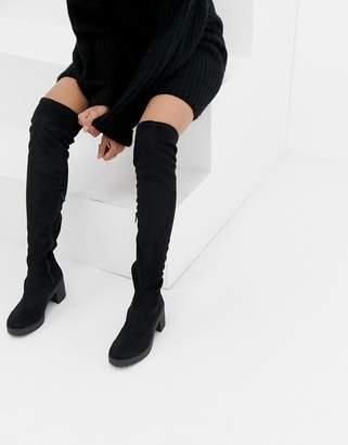 Miss Selfridge over the knee chunky heel boots in black