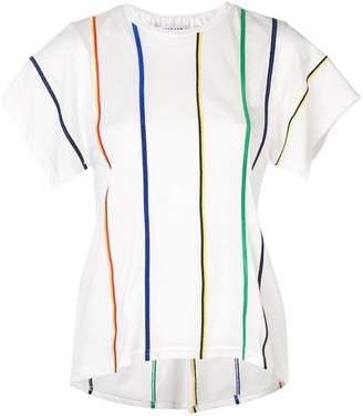 Derek Lam 10 Crosby Multicolor Stripe Embroidered Tee