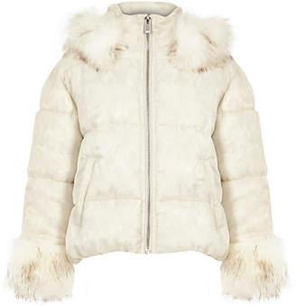 River Island Girls White camo faux fur puffer jacket