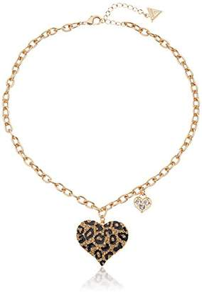 "GUESS Basic"" Gold Cheetah Heart Pendant Necklace"