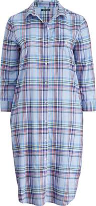 Ralph Lauren Plaid Cotton-Blend Nightgown