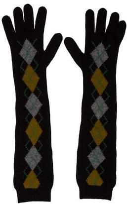 Prada Wool Argyle Gloves
