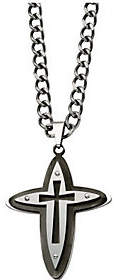 Forza Stainless Steel Black Cross Pendant w/ 22