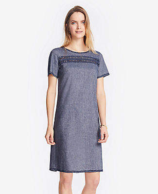 Ann Taylor Embroidered Chambray Shift Dress