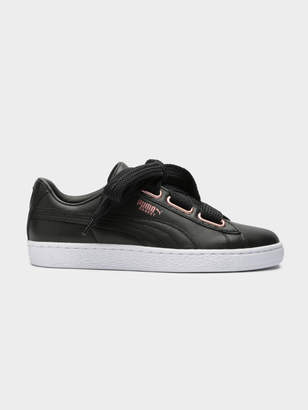 d0003879194b Puma Womens Basket Heart Leather Sneakers in Black and Rose Gold