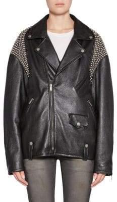 Saint Laurent Oversize Studded Leather Biker Jacket