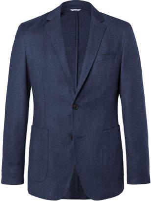 HUGO BOSS Blue Hooper Slim-Fit Unstructured Mélange Virgin Wool-Flannel Suit Jacket