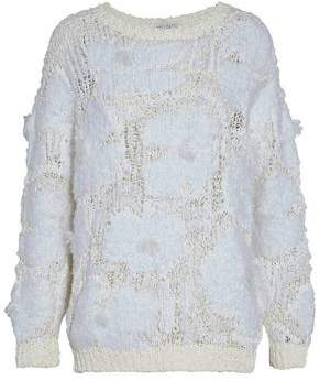 Brunello Cucinelli Frayed Coated Open-Knit Sweater