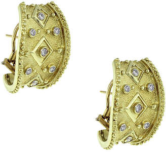 One Kings Lane Vintage 14k Round Diamond Byzantine Earrings - Raymond Lee Jewelers