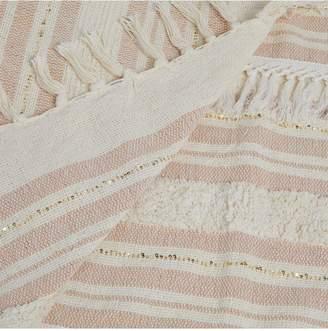 River Island Striped Woven Sequin Tassel Throw