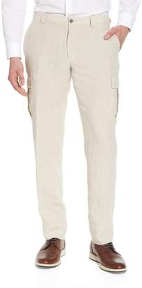 H Flat Front Solid Linen Cargo Trousers