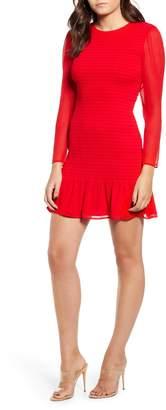 Leith Smocked Chiffon Long Sleeve Minidress