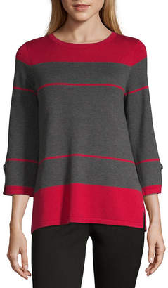 Liz Claiborne Womens Crew Neck 3/4 Sleeve Striped Pullover Sweater