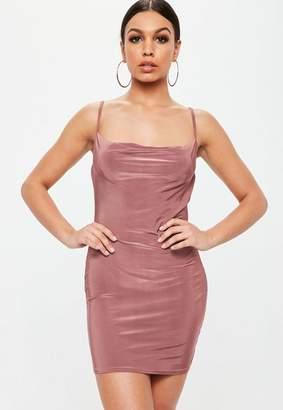 Missguided Petite Pink Slinky Cowl Neck Mini Dress