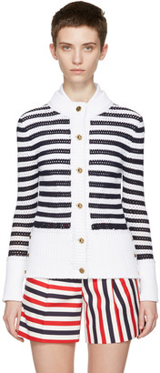 Thom Browne Navy & White Mesh Stitch Crewneck Cardigan $1,290 thestylecure.com