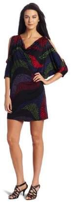 Nine West Dresses Women's Printed Jersey Cold Shoulder Dress