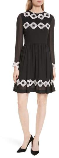 Ted Baker Avianah Lace Trim Fit & Flare Dress