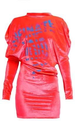 Matty Bovan - Screen Printed Puff Sleeve Velvet Top - Womens - Pink