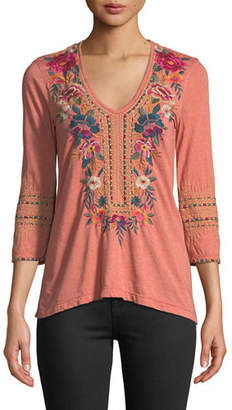 Johnny Was Katina 3/4-Sleeve Embroidered T-Shirt, Plus Size