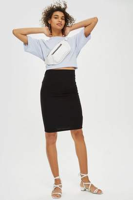 Topshop Textured Pull On Midi Skirt