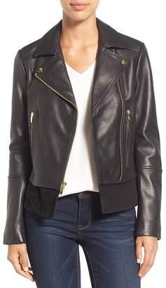 Via Spiga Mixed Media Leather Moto Jacket (Petite)