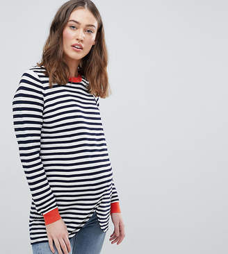 Asos Nursing DESIGN Maternity Nursing eco wrap jumper in ripple stitch stripe