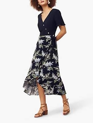 Oasis Jasmine Leaf Print Midi Dress, Multi/Navy