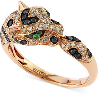 Effy Diamond (1/2 ct. t.w.) and Emerald Accent Panther Ring in 14k Rose Gold