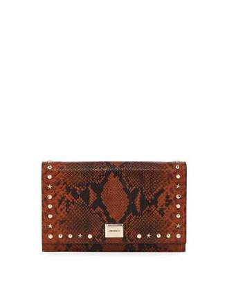 Jimmy Choo Lizzie Snake-Print Clutch Bag with Mixed Studs