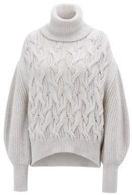 BOSS Hugo Relaxed-fit turtleneck sweater in Italian merino wool L Open White