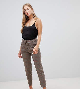 New Look Tie Waist Tapered Check Pant