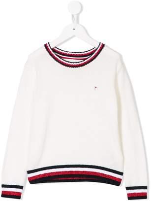 Tommy Hilfiger Junior contrast-trim jumper
