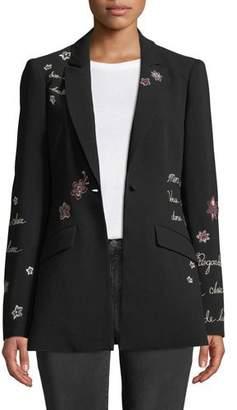 Cinq à Sept Estelle Embroidered One-Button Jacket