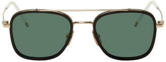 Thom Browne Black and White Gold TB800 Sunglasses