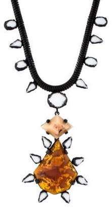 Dannijo Resin Spike Pendant Necklace brass Resin Spike Pendant Necklace