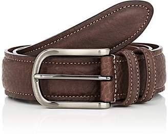 Barneys New York MEN'S GRAINED LEATHER BELT - BROWN SIZE 32