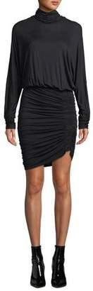 Veronica Beard Manda Long-Sleeve Ruched Turtleneck Short Dress