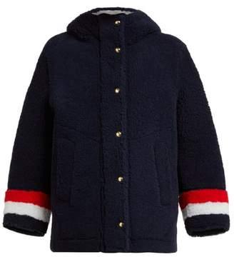 Thom Browne Reversible Hooded Shearling Jacket - Womens - Navy Multi