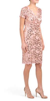 Midi Slim Short Sleeve Lace Dress
