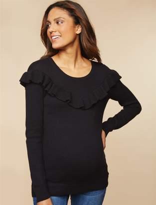 Motherhood Maternity Ruffle Front Maternity Sweater